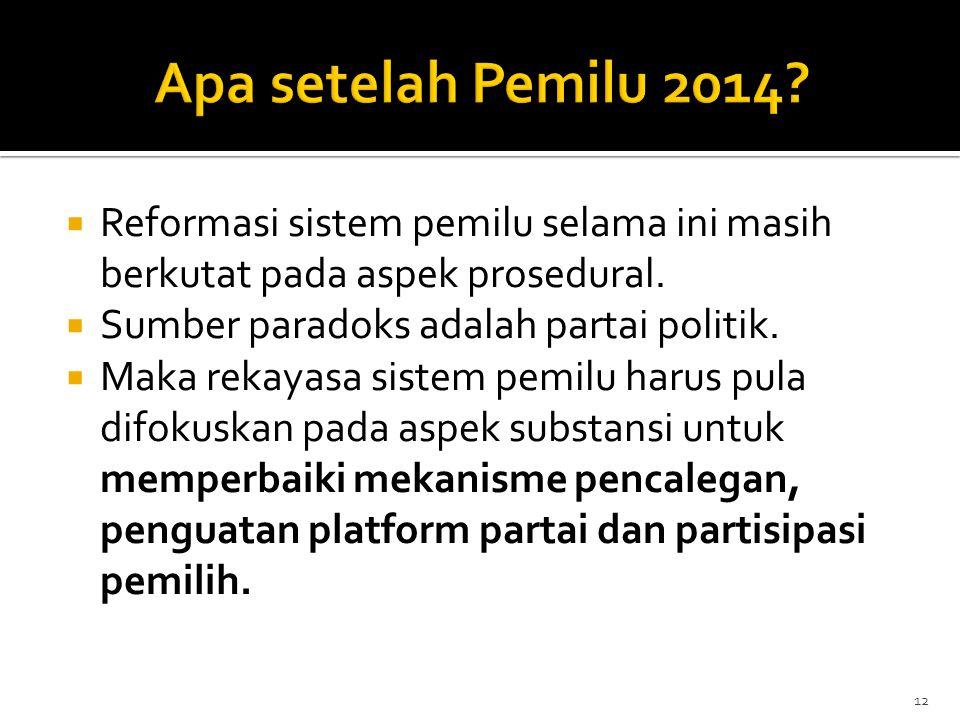 Apa setelah Pemilu 2014 Reformasi sistem pemilu selama ini masih berkutat pada aspek prosedural. Sumber paradoks adalah partai politik.