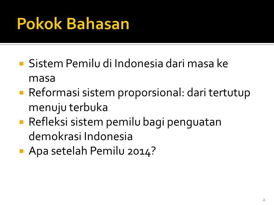 Pokok Bahasan Sistem Pemilu di Indonesia dari masa ke masa