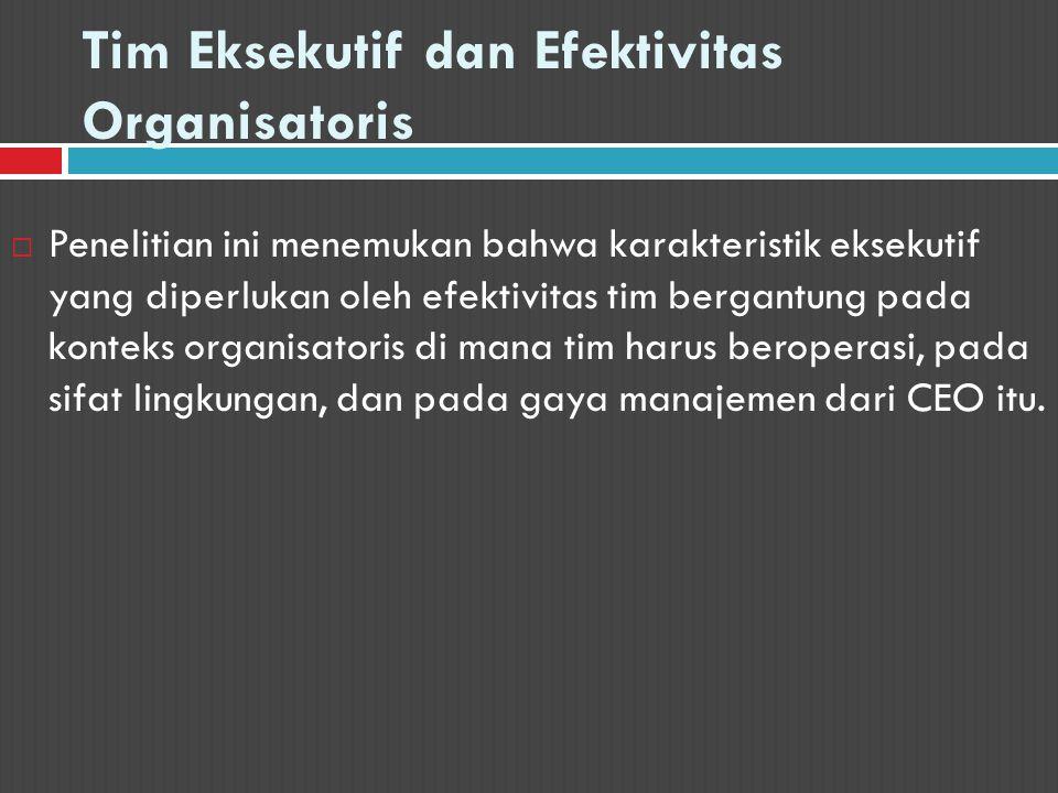 Tim Eksekutif dan Efektivitas Organisatoris