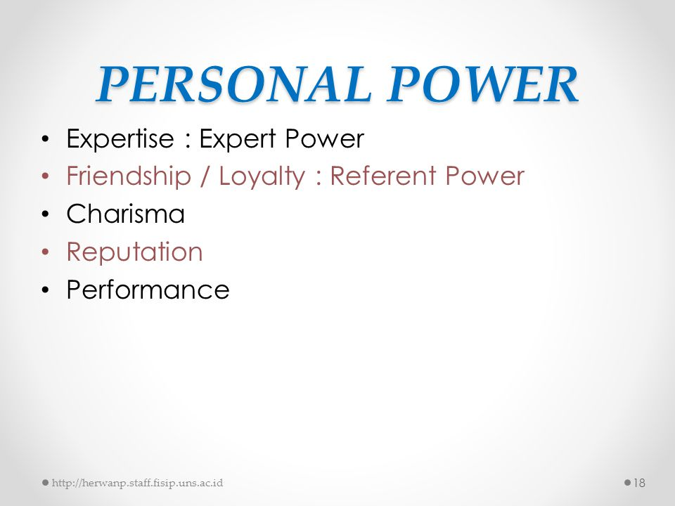 PERSONAL POWER Expertise : Expert Power