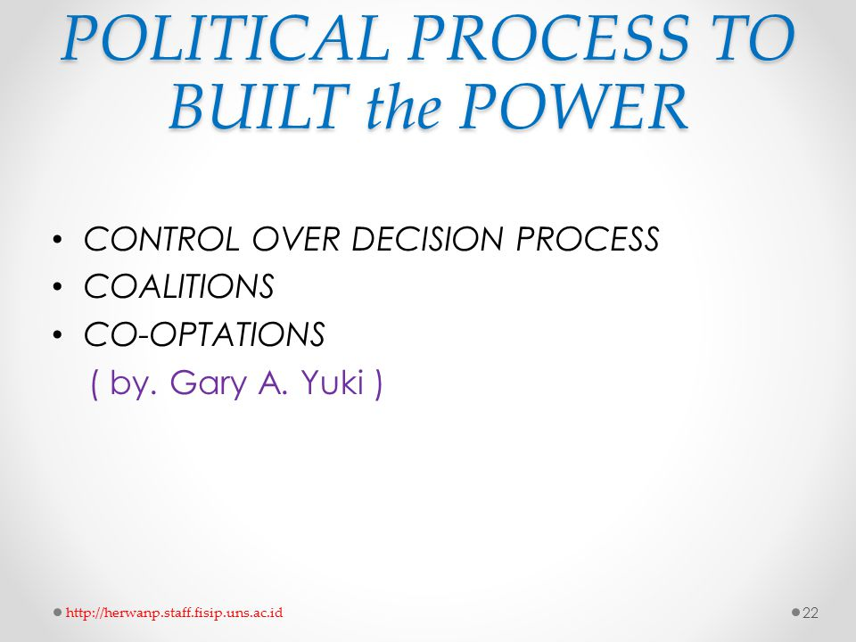 POLITICAL PROCESS TO BUILT the POWER