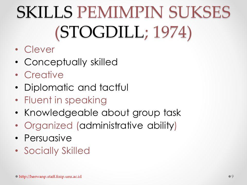 SKILLS PEMIMPIN SUKSES (STOGDILL; 1974)