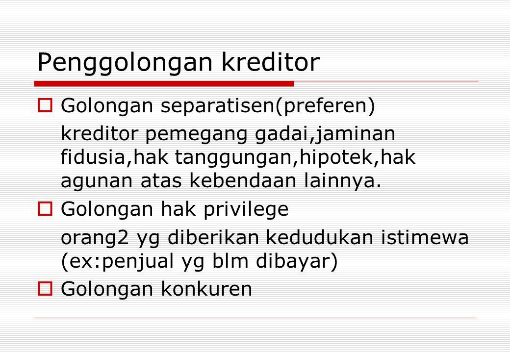 Penggolongan kreditor