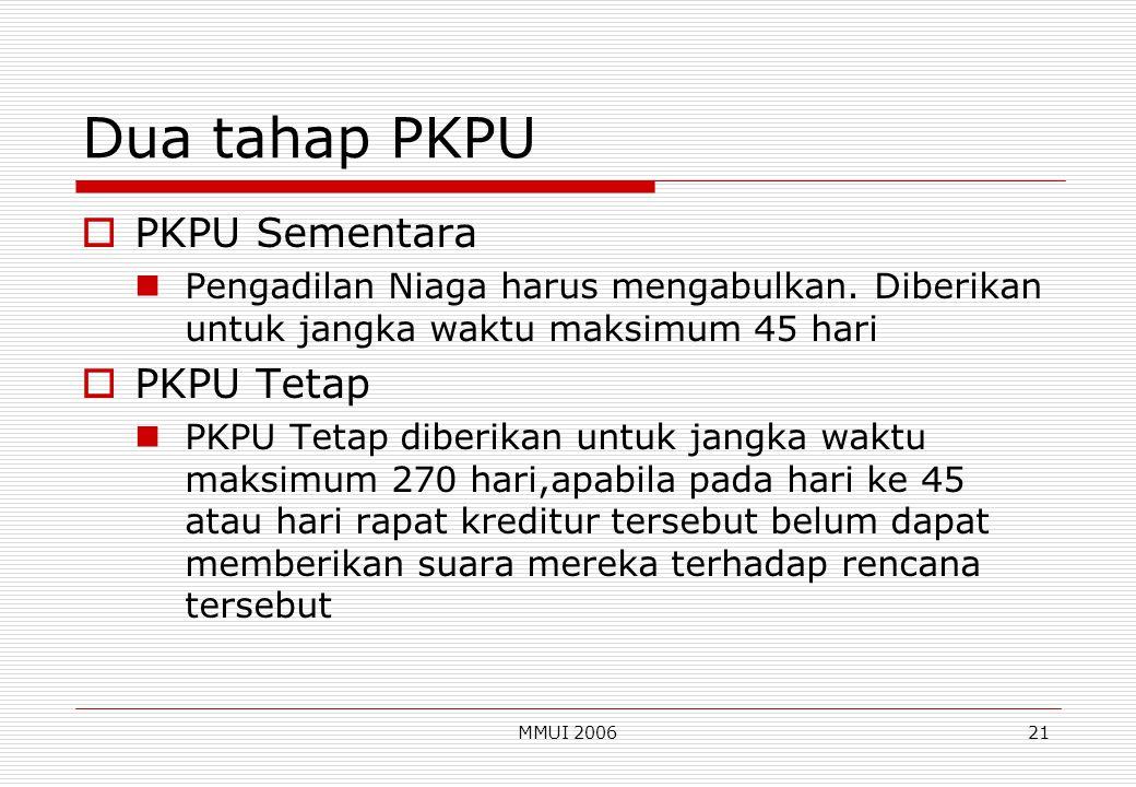 Dua tahap PKPU PKPU Sementara PKPU Tetap