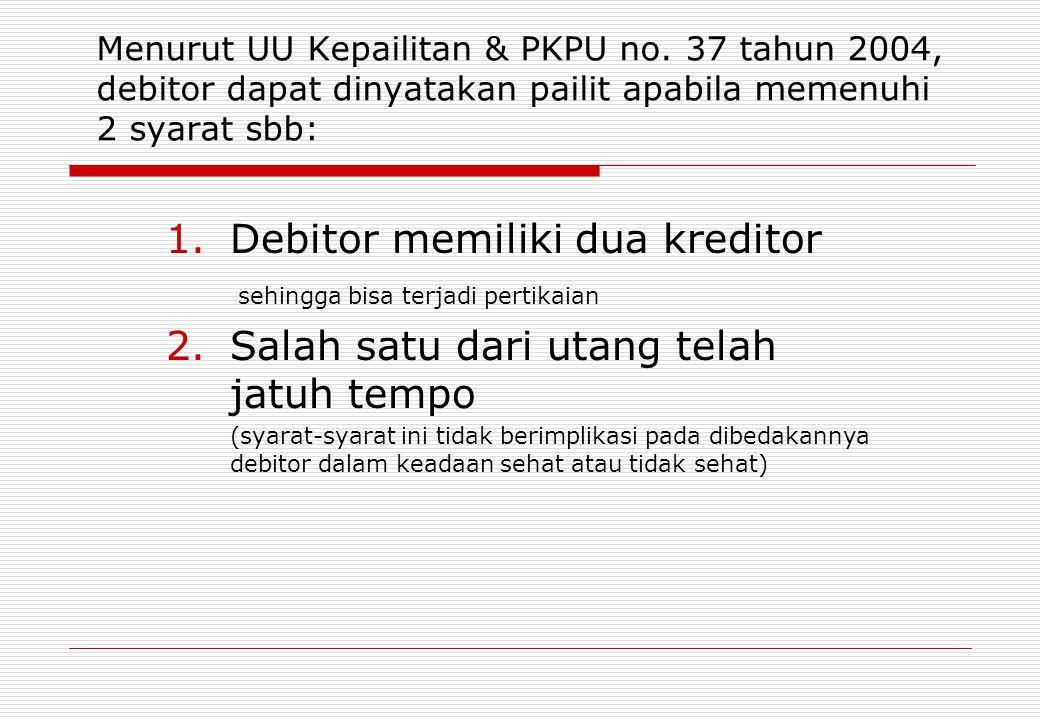 Debitor memiliki dua kreditor Salah satu dari utang telah jatuh tempo