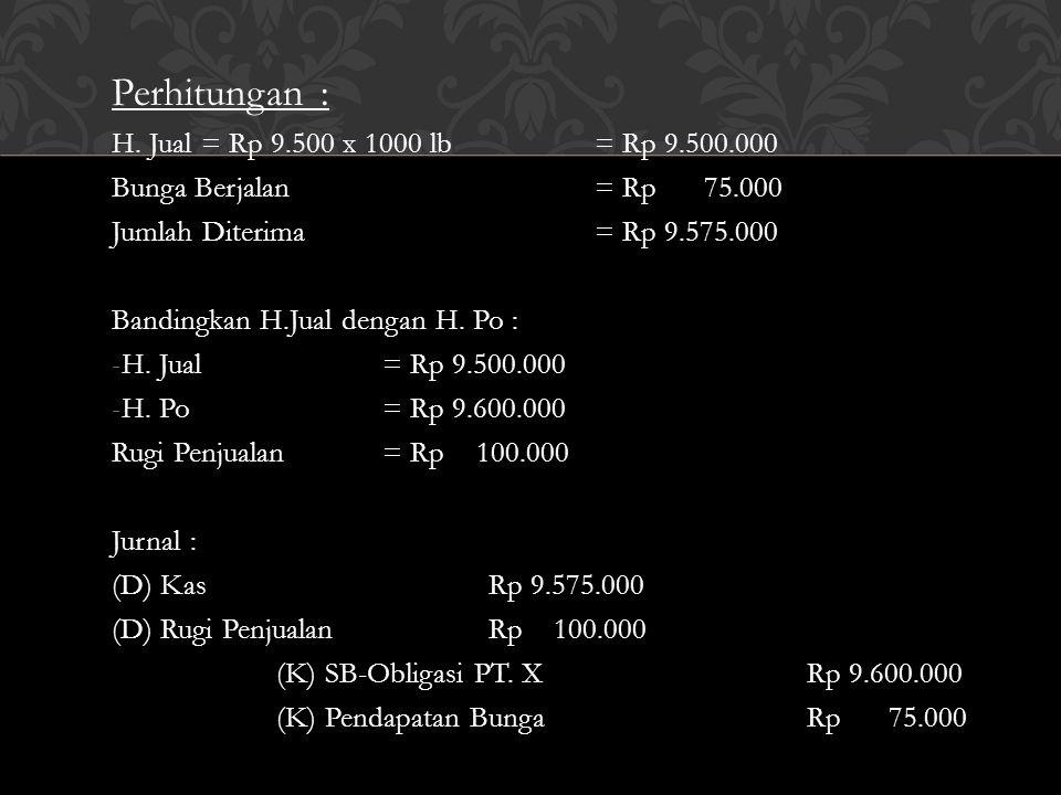 Perhitungan : H. Jual = Rp 9.500 x 1000 lb = Rp 9.500.000