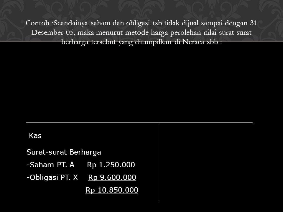 Contoh :Seandainya saham dan obligasi tsb tidak dijual sampai dengan 31 Desember 05, maka menurut metode harga perolehan nilai surat-surat berharga tersebut yang ditampilkan di Neraca sbb :