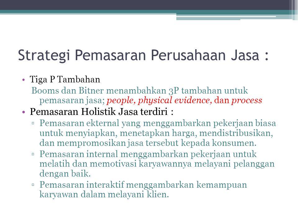 Strategi Pemasaran Perusahaan Jasa :