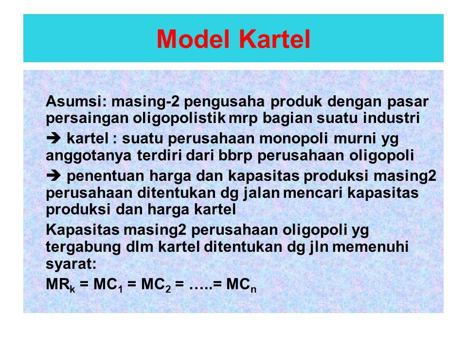 Model Kartel Asumsi: masing-2 pengusaha produk dengan pasar persaingan oligopolistik mrp bagian suatu industri.
