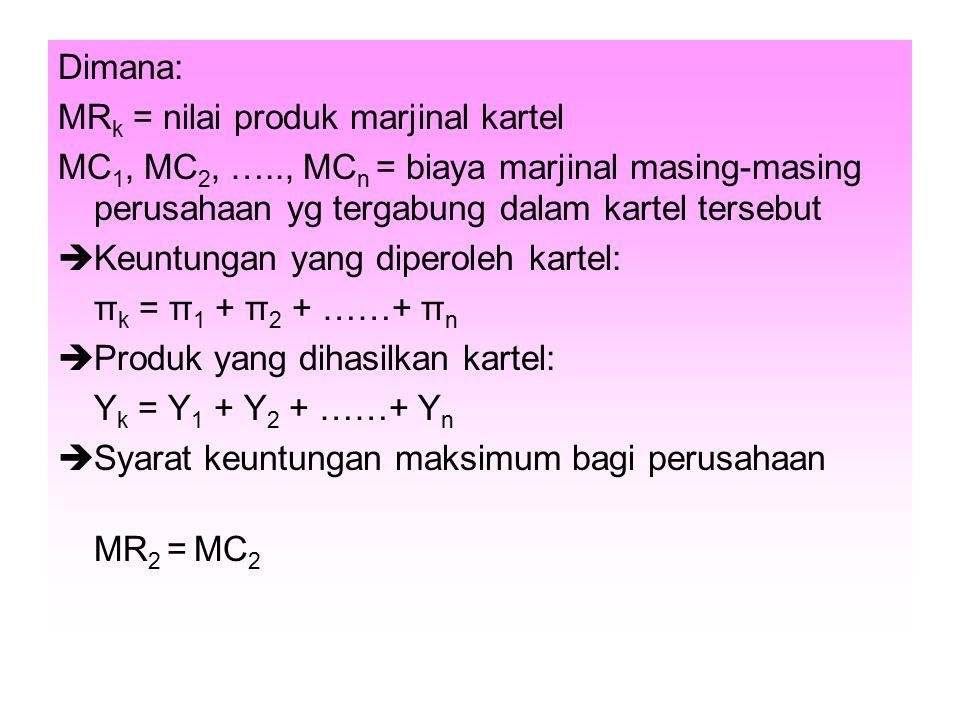 Dimana: MRk = nilai produk marjinal kartel. MC1, MC2, ….., MCn = biaya marjinal masing-masing perusahaan yg tergabung dalam kartel tersebut.