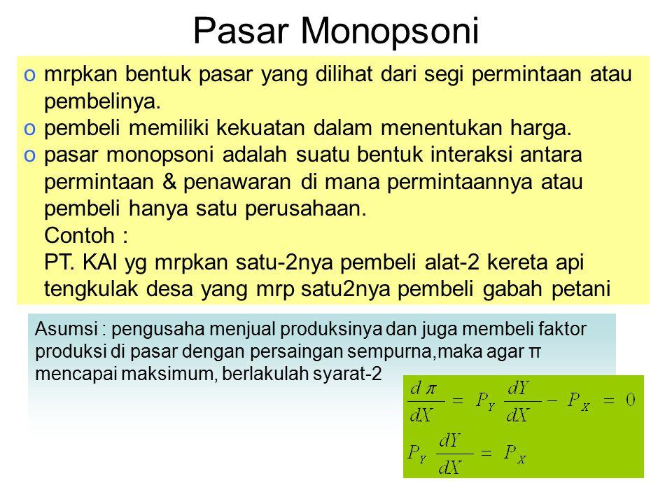 Pasar Monopsoni mrpkan bentuk pasar yang dilihat dari segi permintaan atau pembelinya. pembeli memiliki kekuatan dalam menentukan harga.