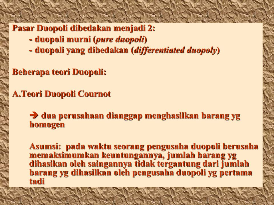 Pasar Duopoli dibedakan menjadi 2: