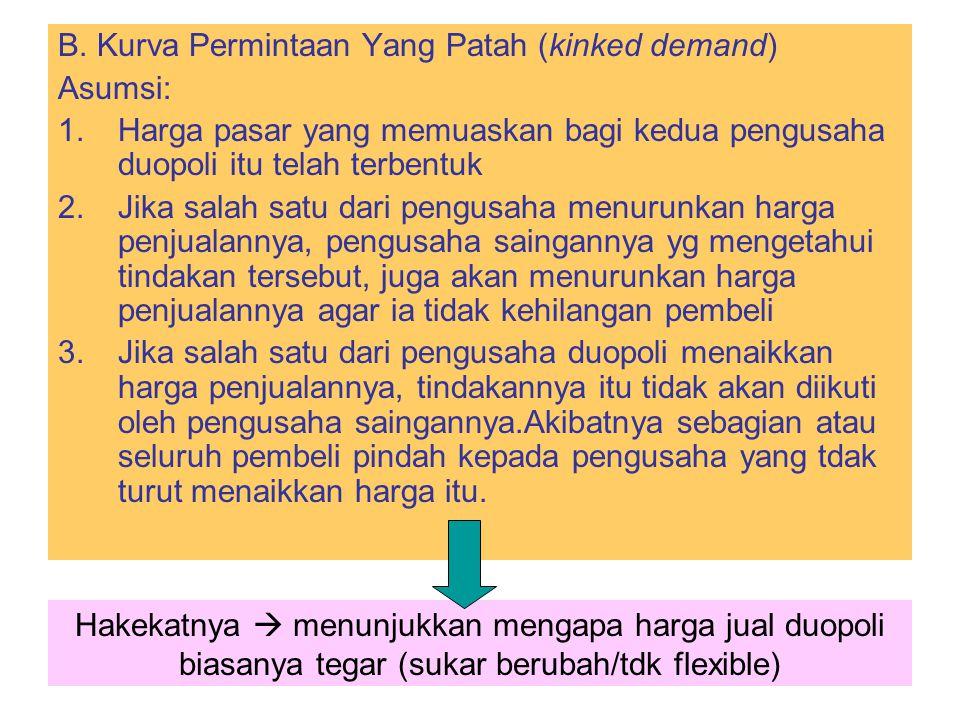 B. Kurva Permintaan Yang Patah (kinked demand)