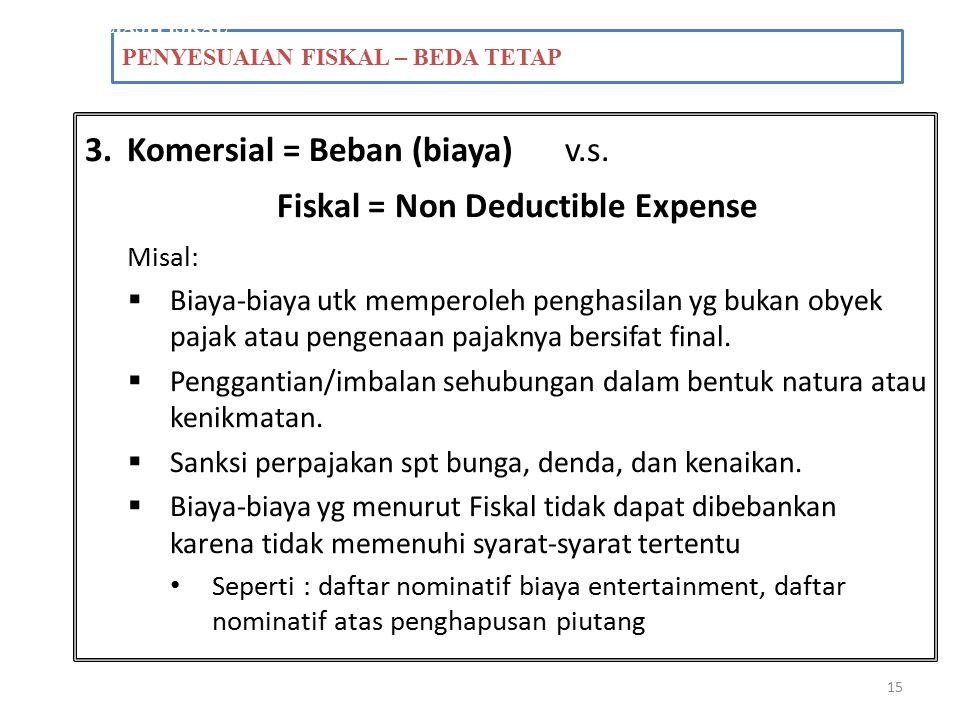 Komersial = Beban (biaya) v.s. Fiskal = Non Deductible Expense