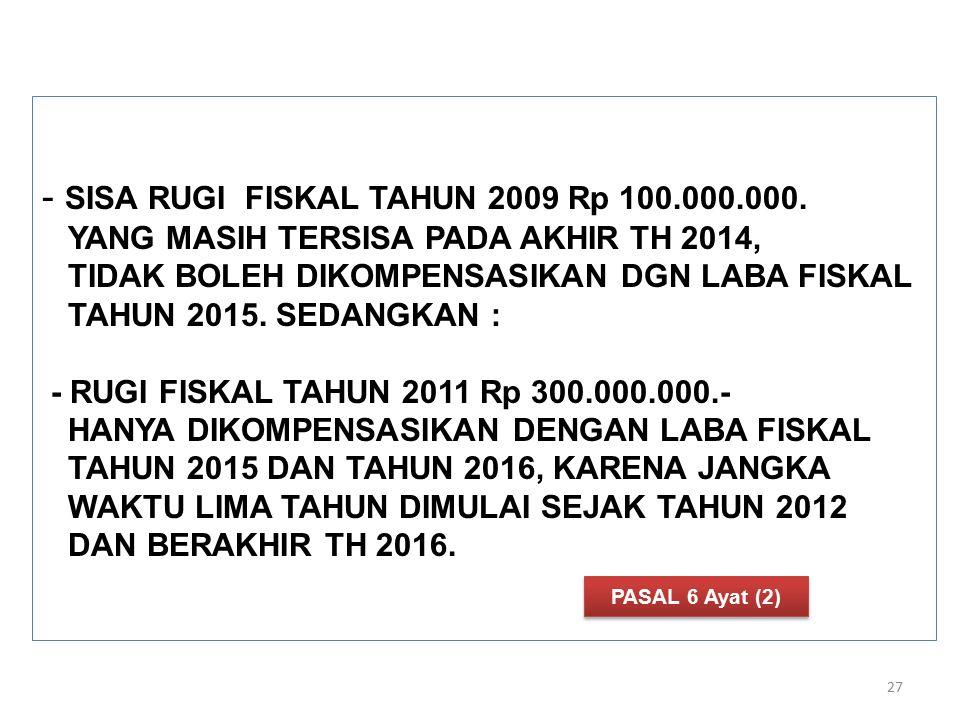 SISA RUGI FISKAL TAHUN 2009 Rp 100. 000. 000