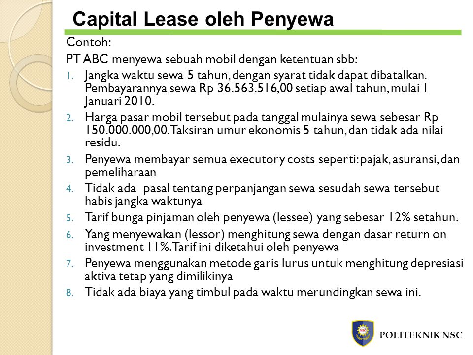 Capital Lease oleh Penyewa