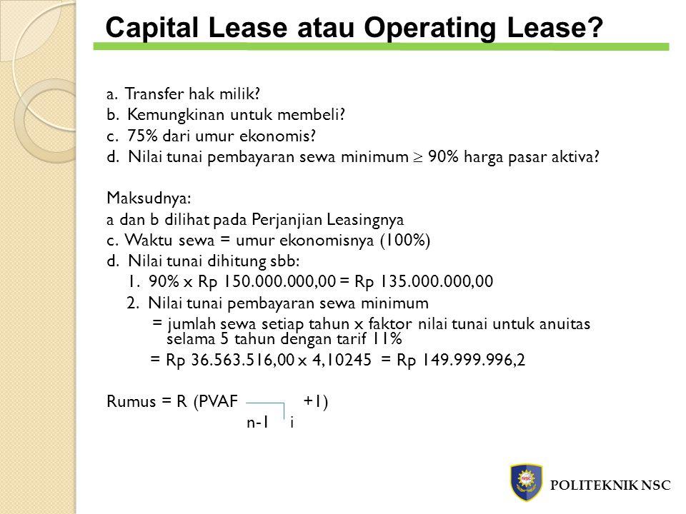 Capital Lease atau Operating Lease