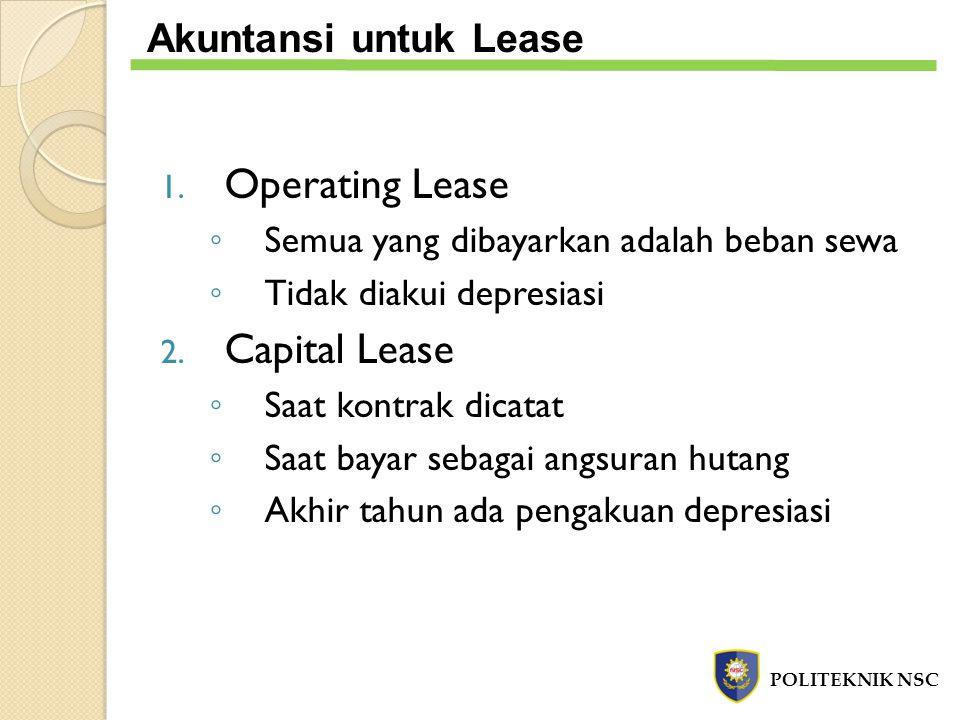 Operating Lease Capital Lease Akuntansi untuk Lease