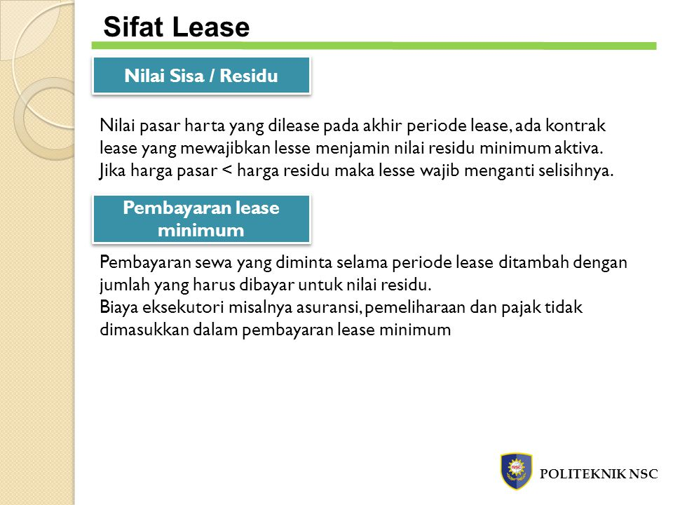 Pembayaran lease minimum