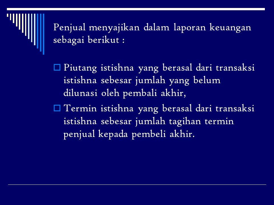 Penjual menyajikan dalam laporan keuangan sebagai berikut :