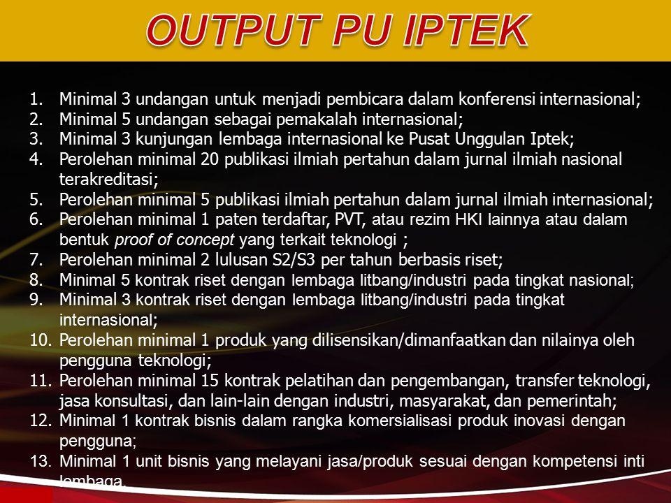 OUTPUT PU IPTEK Minimal 3 undangan untuk menjadi pembicara dalam konferensi internasional; Minimal 5 undangan sebagai pemakalah internasional;