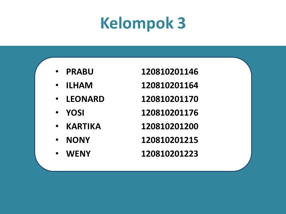 Kelompok 3 PRABU 120810201146 ILHAM 120810201164 LEONARD 120810201170