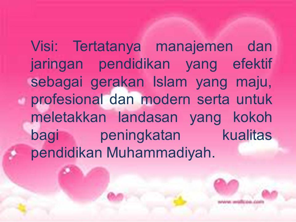 Visi: Tertatanya manajemen dan jaringan pendidikan yang efektif sebagai gerakan Islam yang maju, profesional dan modern serta untuk meletakkan landasan yang kokoh bagi peningkatan kualitas pendidikan Muhammadiyah.