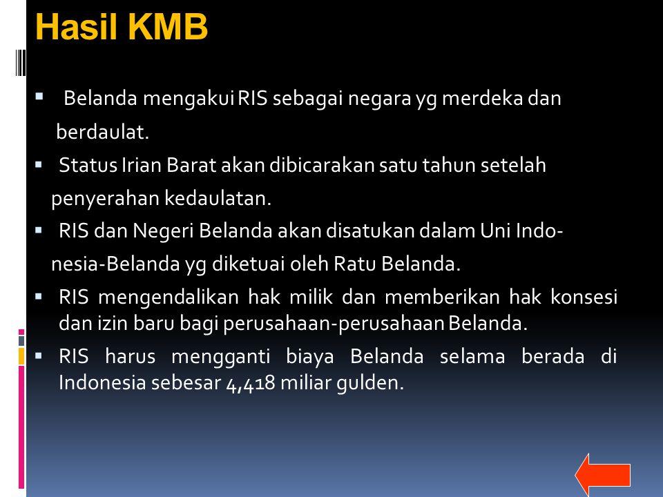 Hasil KMB Belanda mengakui RIS sebagai negara yg merdeka dan