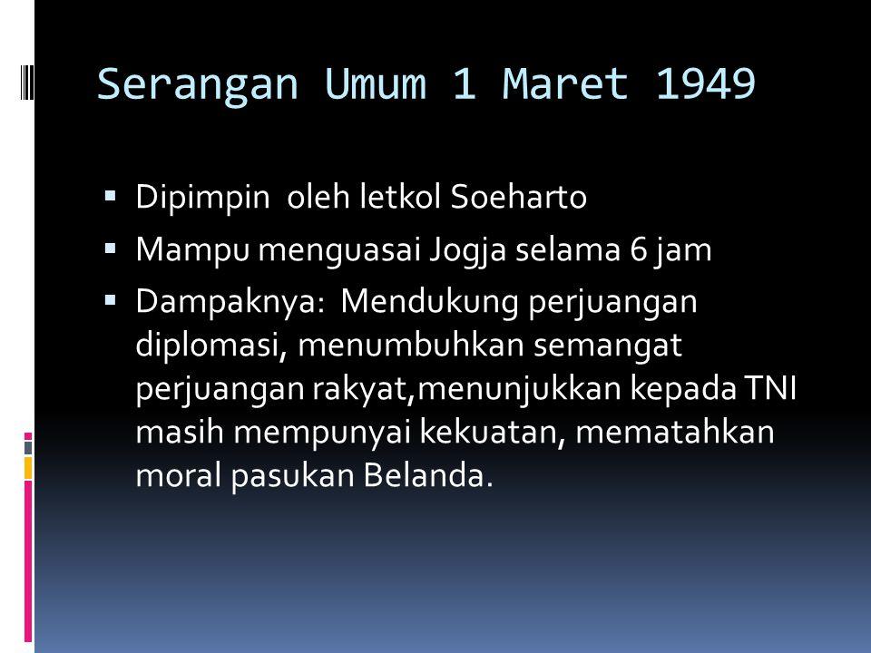 Serangan Umum 1 Maret 1949 Dipimpin oleh letkol Soeharto