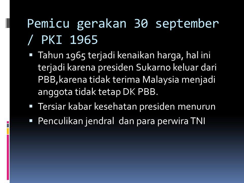Pemicu gerakan 30 september / PKI 1965