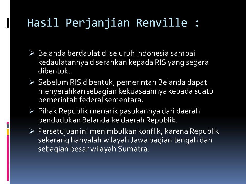 Hasil Perjanjian Renville :