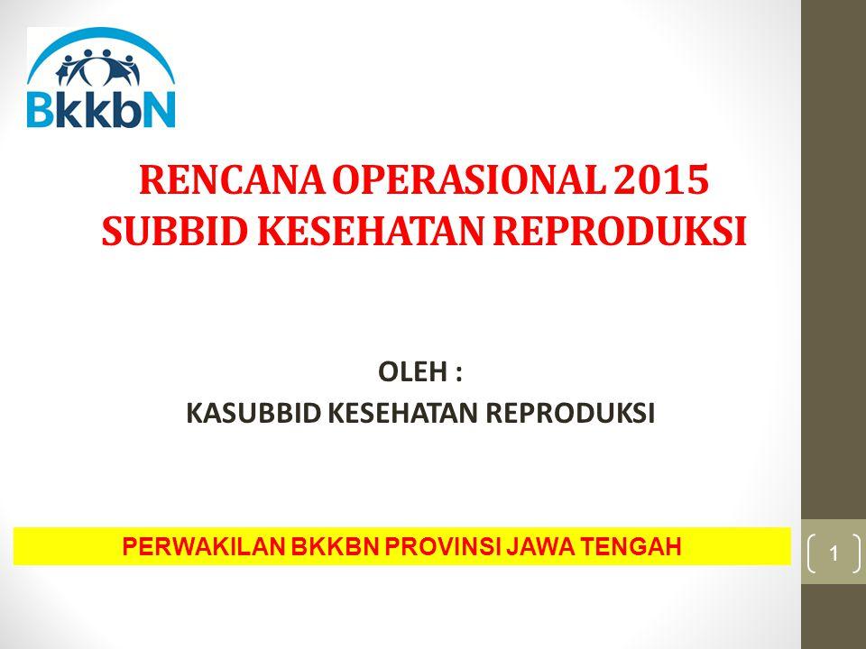 RENCANA OPERASIONAL 2015 SUBBID KESEHATAN REPRODUKSI