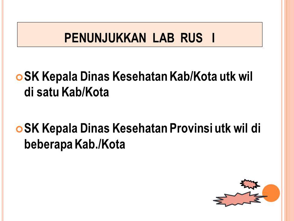 PENUNJUKKAN LAB RUS I SK Kepala Dinas Kesehatan Kab/Kota utk wil di satu Kab/Kota.