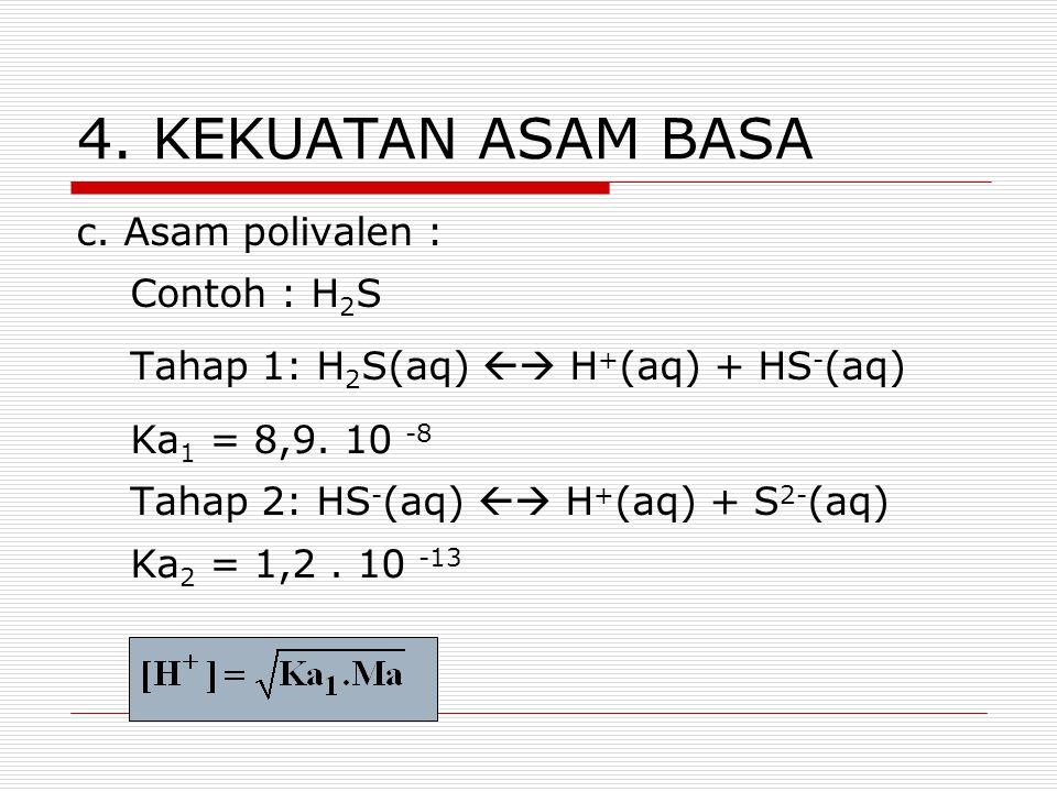 4. KEKUATAN ASAM BASA c. Asam polivalen : Contoh : H2S
