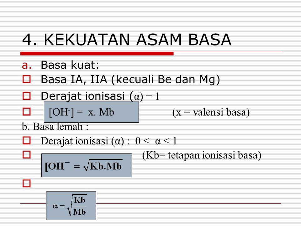4. KEKUATAN ASAM BASA Basa kuat: Basa IA, IIA (kecuali Be dan Mg)