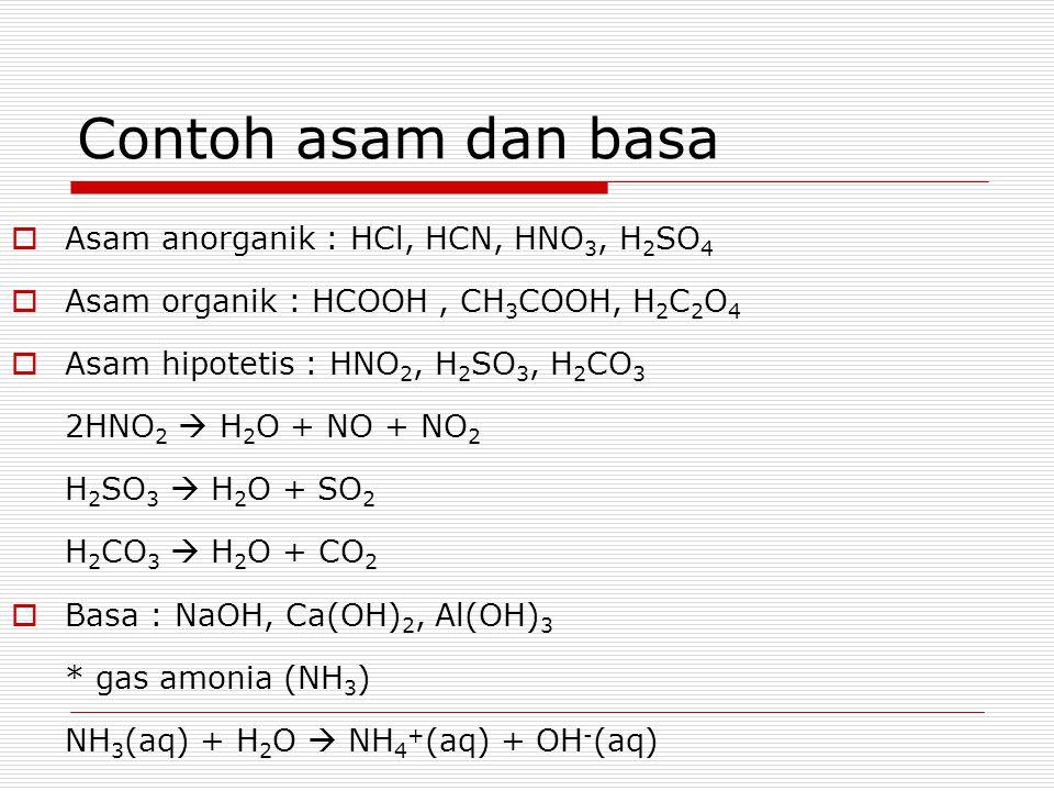 Contoh asam dan basa Asam anorganik : HCl, HCN, HNO3, H2SO4