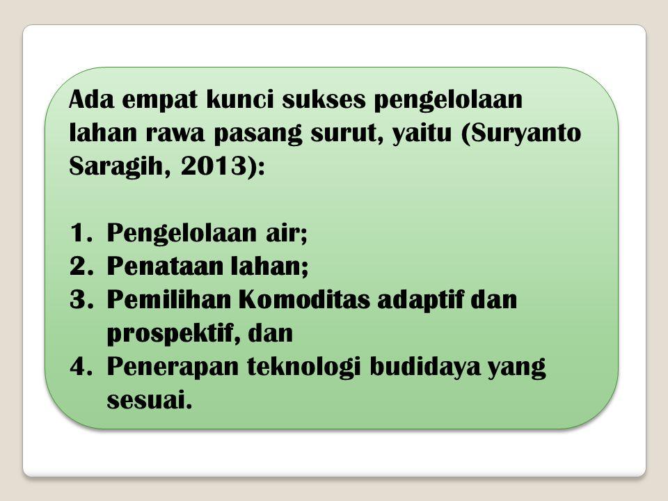 Ada empat kunci sukses pengelolaan lahan rawa pasang surut, yaitu (Suryanto Saragih, 2013):