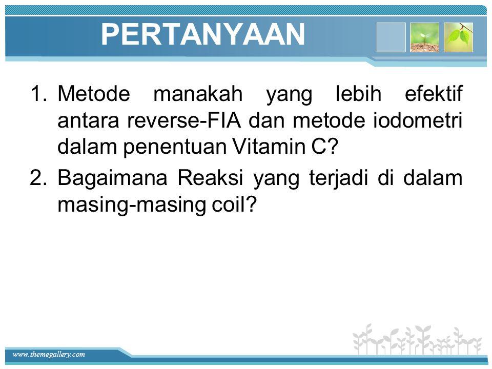 PERTANYAAN Metode manakah yang lebih efektif antara reverse-FIA dan metode iodometri dalam penentuan Vitamin C