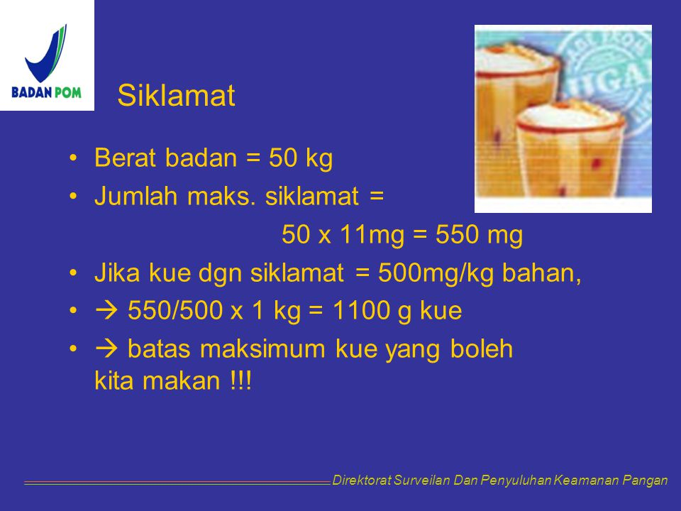 Siklamat Berat badan = 50 kg Jumlah maks. siklamat =