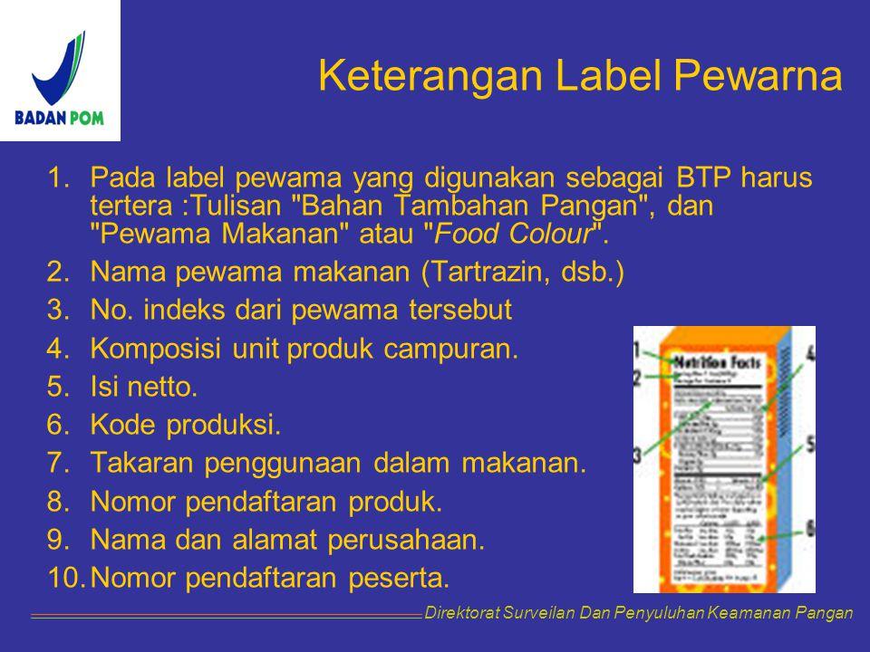 Keterangan Label Pewarna