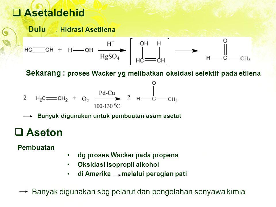 Asetaldehid Aseton Dulu : Hidrasi Asetilena