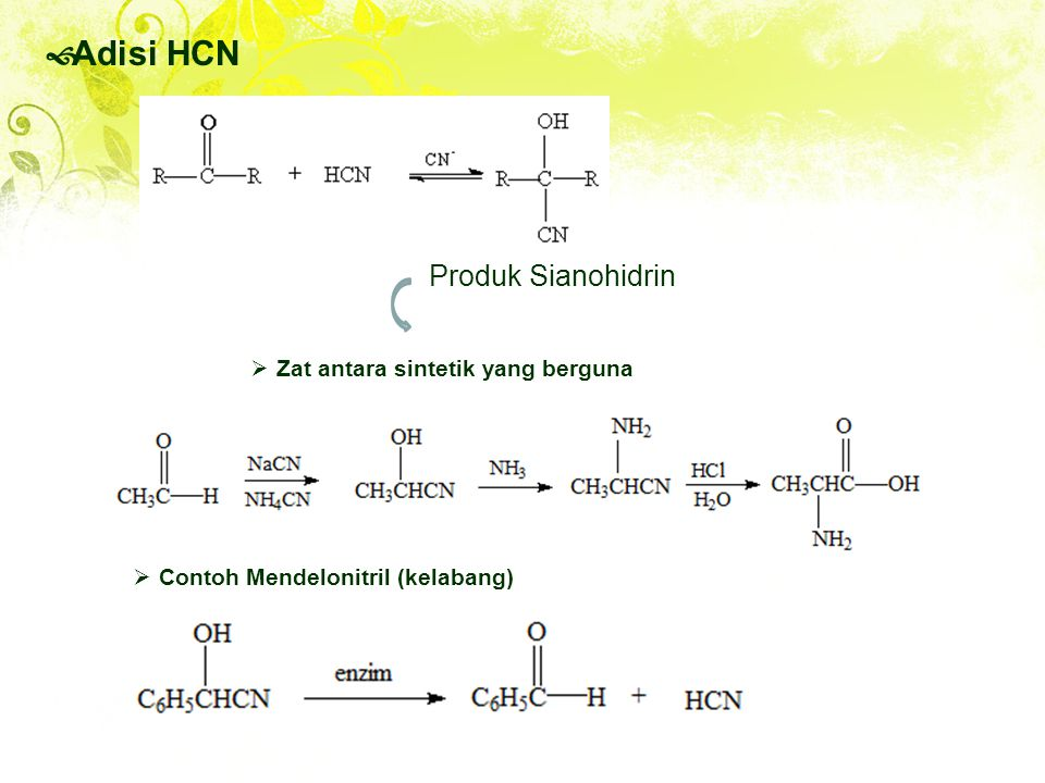 Adisi HCN Produk Sianohidrin Zat antara sintetik yang berguna