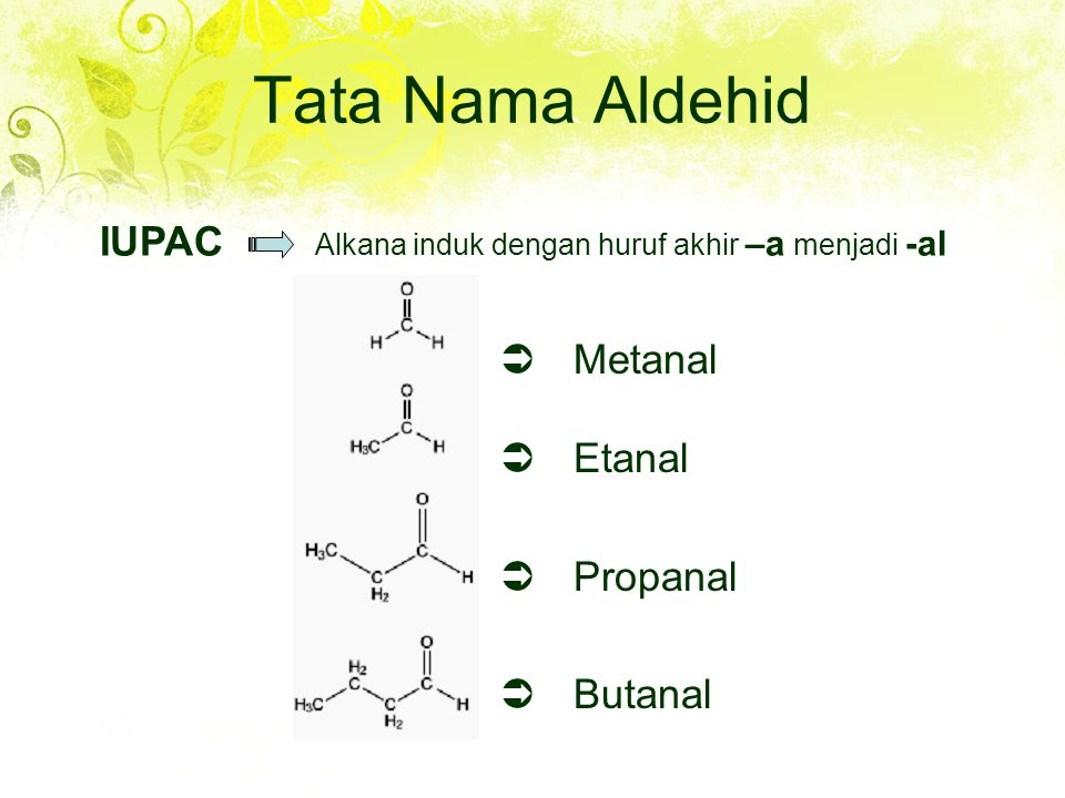 Tata Nama Aldehid IUPAC Alkana induk dengan huruf akhir –a menjadi -al