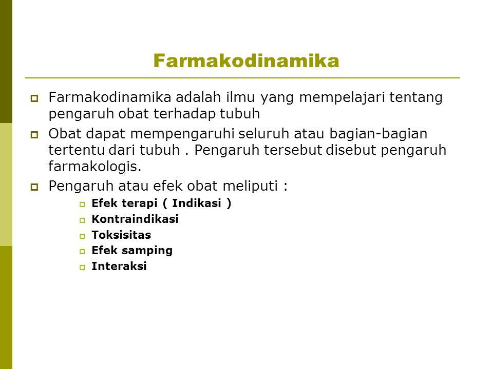 Farmakodinamika Farmakodinamika adalah ilmu yang mempelajari tentang pengaruh obat terhadap tubuh.