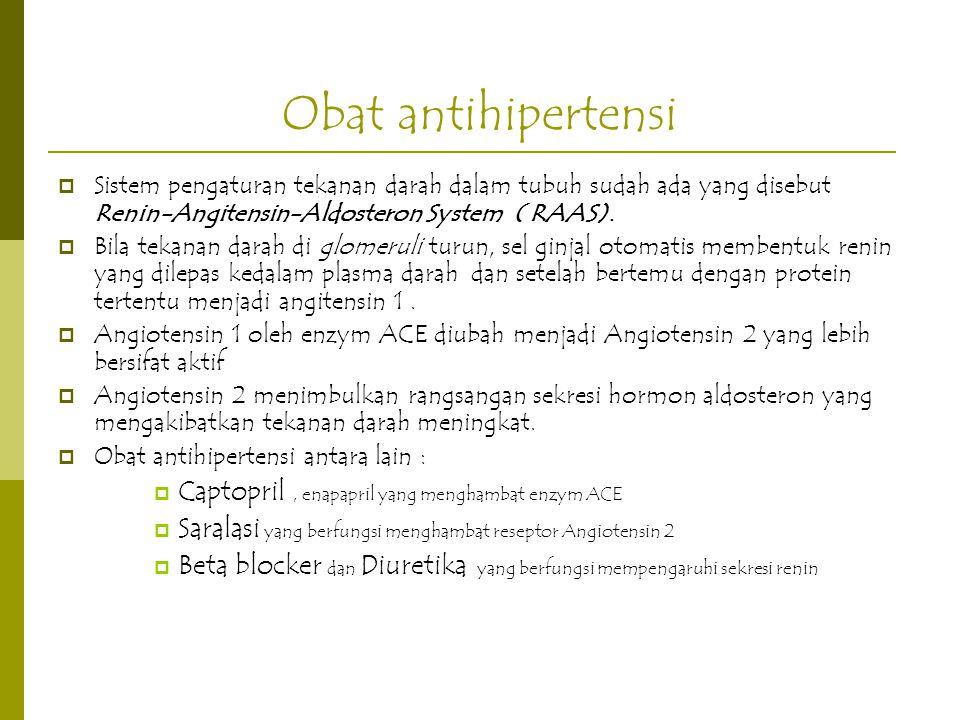 Obat antihipertensi Captopril , enapapril yang menghambat enzym ACE