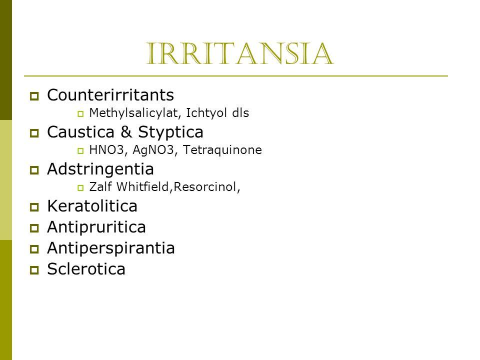 Irritansia Counterirritants Caustica & Styptica Adstringentia