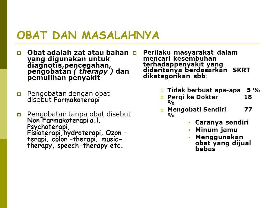 OBAT DAN MASALAHNYA Obat adalah zat atau bahan yang digunakan untuk diagnotis,pencegahan, pengobatan ( therapy ) dan pemulihan penyakit.