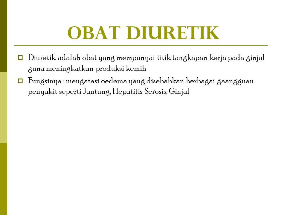 Obat Diuretik Diuretik adalah obat yang mempunyai titik tangkapan kerja pada ginjal guna meningkatkan produksi kemih.