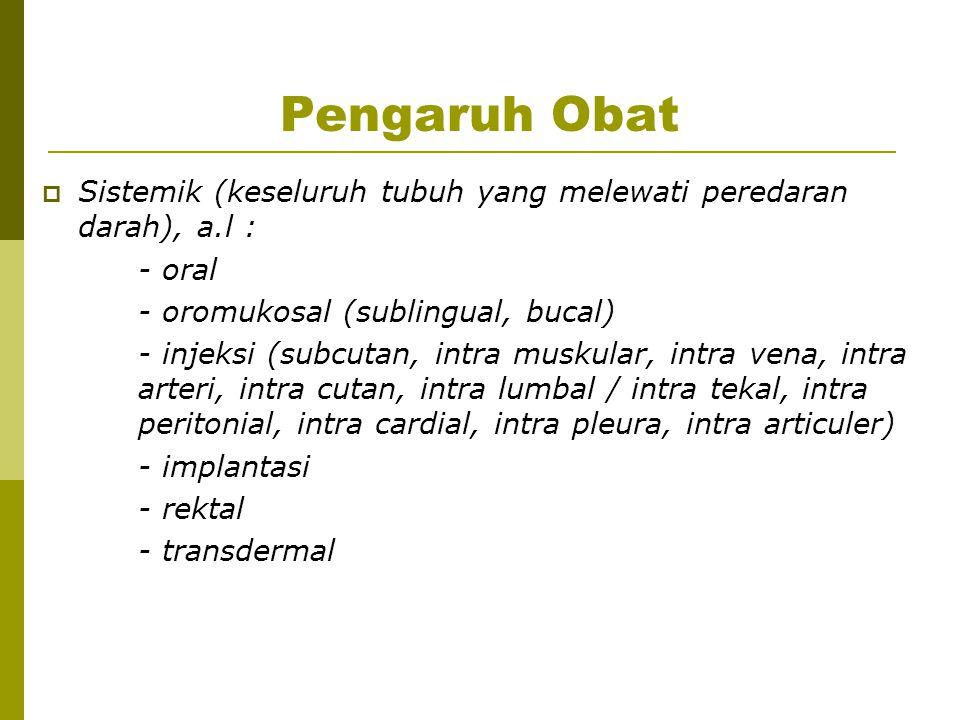 Pengaruh Obat Sistemik (keseluruh tubuh yang melewati peredaran darah), a.l : - oral. - oromukosal (sublingual, bucal)