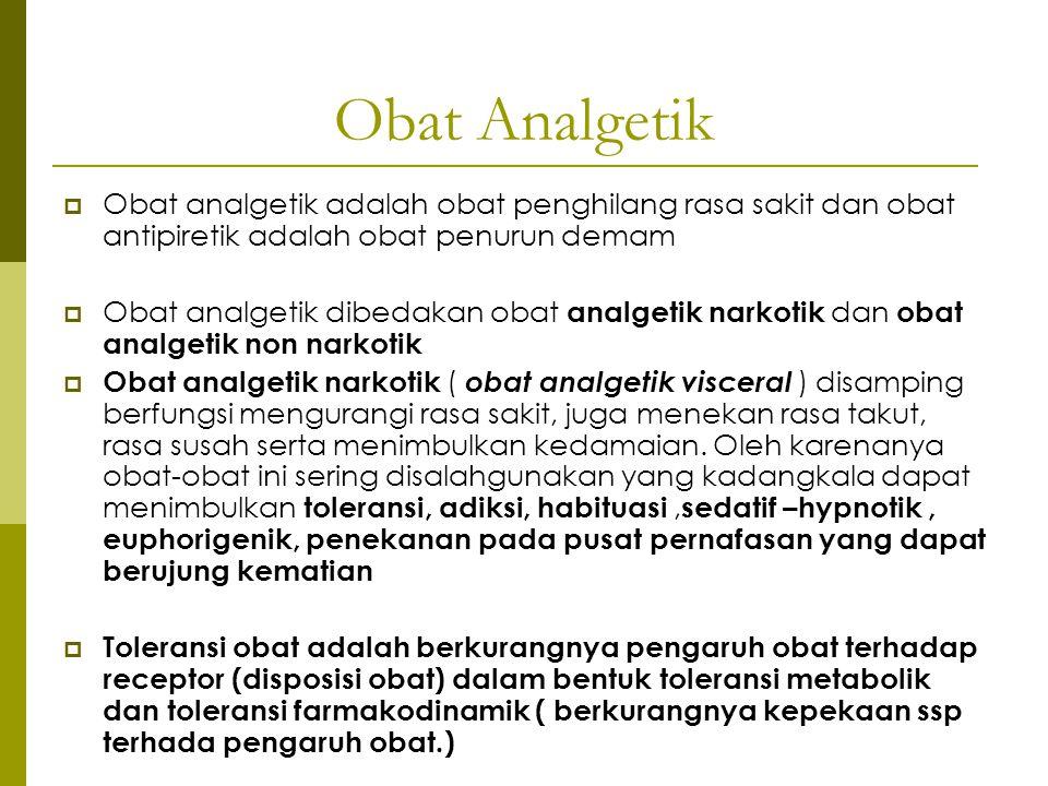 Obat Analgetik Obat analgetik adalah obat penghilang rasa sakit dan obat antipiretik adalah obat penurun demam.
